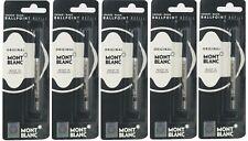 5 ORIGINAL MONT BLANC MONTBLANC BLACK BALLPOINT REFILL MED POINT FREE SHIPPING