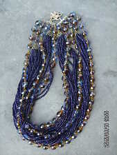 estate vintage multi strand beaded costume necklace sapphire or amethyst? Nice!