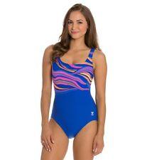 Damen TYR Fantasia Aqua controlfit Badeanzug Größe 16 NWT blau Durafast Fitness