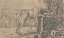 17th C Old Master Jan Van Den Hecke Dog Drinking from Fountain Engraving C 1656