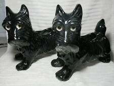 Vintage Japanese Ceramic Black Scottish Terrier Planter Set
