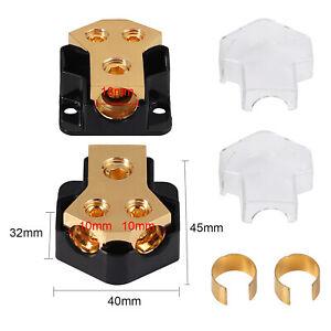 2 Way Amp Copper Power Distribution Block for 0/2/4 Gauge in Car Audio Splitter