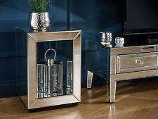 Birlea Valencia Mirrored Lamp End Table Bevelled Glass Modern Designer