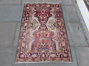 Vintage Worn Hand Made Traditional Oriental Wool Red Pink Small Rug 150x100cm