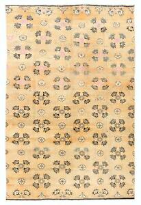 6x9 Ft Vintage Floral Konya Wool Rug. Soft Rust, Orange, Salmon, Pink Colors