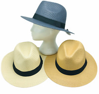 Wide Brim Fedora Classic Panama Hats 2-Pack Sun Straw Beach Cream Navy Tan Adult