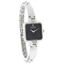 NEW Citizen Eco-Drive EX1200-64E Ladies Silhouette Black Dial Bangle Watch