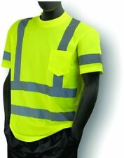 3 ANSI Mens Class 3 Wicking Snag Resistant Safety Pocket T-Shirt Reflective 5XL