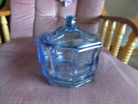 """Vintage Indiana Glass Concord Light Blue Octagon Candy Dish with Lid  7 1/4"""" T"""