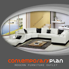 Tampa Contemporary Leather Sectional Sofa Set - Curved Modern Design White/Black