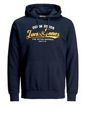 Jack & Jones Mens JJELOGO Sweat Hoodie Sports Gym Hoody Running Pullover   Navy