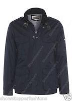 NEW Men's Jacket Smart Coat Size S M L XL Navy Blue Trench Mac Collar