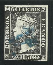 EDIFIL 1A 6 Cuartos 1850 marca prefilatélica 11 de Zaragoza en azul  RARO!!!