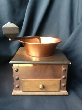 Vtg. Wood & Copper Brass(?) Coffee Grinder With Drawer Verity Southall Ltd