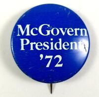 McGovern President '72 Presidential Election 1972 Campaign Button Blue Democrat