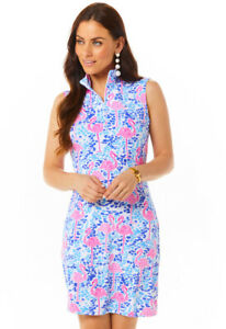 IBKUL Flamingo Mock Neck Sleeveless Dress Blue/Pink XS S M L XL Golf UPF 50