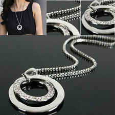 Women Fashion Ring Pendant Necklace Long Neck Chain Jewelry Crystal Gift Decor