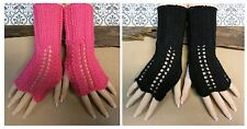 Knitted Fingerless Gloves, Pink Lace Burlesque, Arm Warmers, Wool Winter Glove