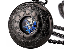 Mens Pocket Fob Watch Mechanical Wind Up Steampunk Style Skeleton Vintage Chain