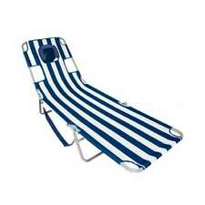 Ostrich Chaise Lounge Folding Sunbathing Beach Chair, Navy Stripes (Used)