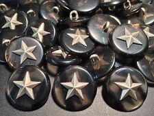 "50 Military Star Buttons w/Imitation Grey Tortoise Shell 23/mm 7/8"" Shank Base"