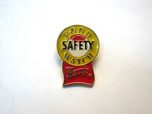 """Vintage Wendys Dave Thomas Food Safety Watch Metal/Enamel 1 1/4""""  Pin"""