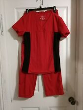 Cherokee Flexibles Scrub Set Top & Pants Size Xs 2 Pieces Black & Red Excellent