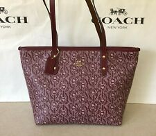 NWT Coach F37854 City Zip Tote With Chain Print Claret Gold