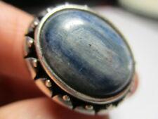 Plata de Ley Antiguo Azul Cianita Pesado Rollo Cónico Anillo de Banda Talla 6.25