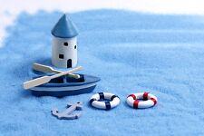 Miniature Boat with Paddles, Anchor and Life Saver  (USA SELLER FAST SHIPPING)