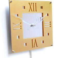 Roco Verre Déco Vintage Moderne Pendule Horloge Murale Gloss Doré