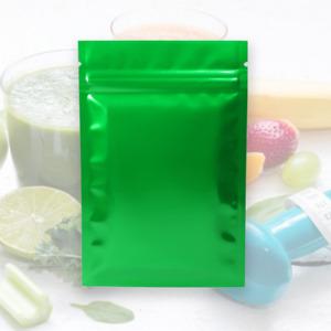 QQ Studio Green Sterile Mylar Resealable Packaging Bags Custom Printing Option