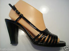 Vintage Gorolino Black Patent Leather Slingback Sandals Shoes Size 8 N Narrow
