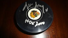 "Denis Savard autographed Blackhawks puck inscribed ""HOF 2000"" with COA"