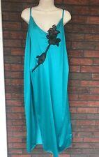 Frederick's Hollywood 3X Green Black Nightgown Semisheer Bodice Spag Strap VTG