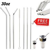 6pcs Drinking Straws for Tumbler YETI Cup Mug + Reusable Brush Stainless Steel