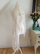 ANTIQUE 1800s SILK VEIL MANTILLA TAMBOUR EMBROIDERED LACE WEDDING DIVINE BEAUTY