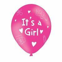 6pk It's A Girl Pink Latex Balloons 27.5cm Baby Shower Decorations