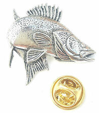 Zander / Walleye Fish Handcrafted from English Pewter in the UK Lapel Pin Badge