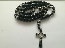 Black Cross Rosary Necklace Beads Knot Negro Rosario Sinaloense Cruz Hilo