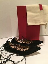Valentino Ballerina Lace Up Rockstud Ballets Flats Suede Black 37/ 6.5 $895