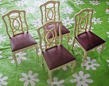 FOUR VINTAGE MARX SINDY DOLL FURNITURE DINING CHAIRS BARBIE SIZE 1970'S VG