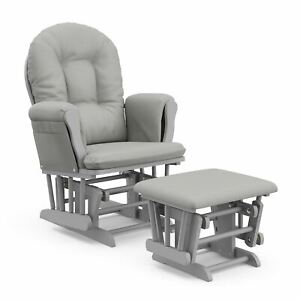 Storkcraft Hoop Glider and Ottoman - Pebble Gray with Light Gray Cushions