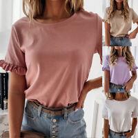 Damen Mode Volant Top Rundhals T-Shirt Bluse Kurzarm Casual Damen Blusen P/D