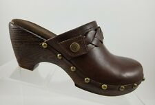 Lindsay Phillips Karin Brown leather Slip On Studded Mules Clogs Womens 6M