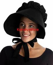 Burgundy - Adult Baby cotton Bonnet Hat Cap Sissy Pioneer Victorian Edwardian