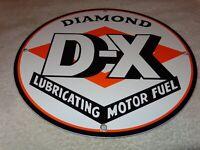 """VINTAGE DIAMOND DX GASOLINE 11 3/4"""" PORCELAIN METAL D X GAS OIL SIGN! PUMP PLATE"""