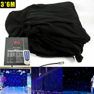 6X3M LED Stage Star Backdrop Wedding Party Curtain Velvet Backdrops W/Controller