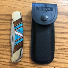 Folding Knife Inlaid Turquoise MOp Schrade Leather Sheath Navajo D.Yazzie