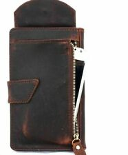 Genuine Leather Case for iPhone XS Book Wallet Cover Cards Slots Vintage Brown